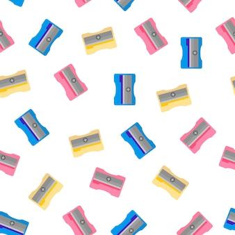 Мультфильм бесшовные модели с цветной точилкой на белом фоне для интернета, печати, текстуры ткани или обоев.