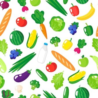 신선한 건강 한 유기농 식품, 야채와 과일 흰색 배경에 고립 된 만화 완벽 한 패턴입니다.