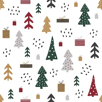 집과 나무, 크리스마스 분위기와 만화 완벽 한 패턴입니다.
