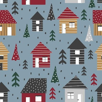 Cartoon seamless pattern with houses and trees christmas mood