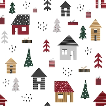 Cartoon seamless pattern with houses and trees, christmas mood.