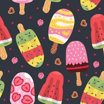 Мультфильм бесшовные модели с мороженым в вафельных рожках