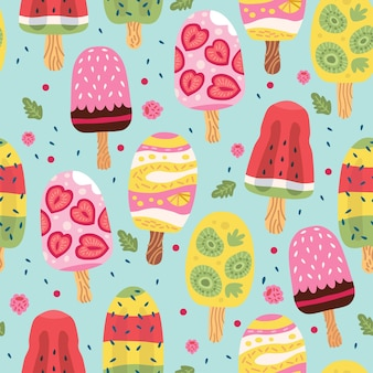 Cartoon seamless pattern with ice cream in waffle cones
