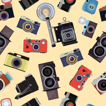 レトロな写真カメラのイラストと漫画のシームレスなパターン。フラッシュパターンの写真機材、デバイスフォトカメラ