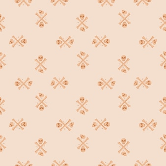 Cartoon seamless pattern with orange skeleton silhouettes. skulls and bones ornament on light pink background. vector illustration for seasonal textile, fabric, banners, backdrops and wallpapers.
