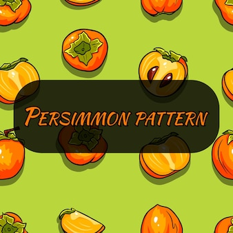 Cartoon seamless pattern with persimmon fruit