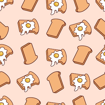 Cartoon seamless pattern with toasts and fried eggs