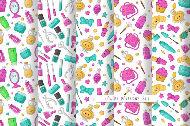 Cartoon seamless patterns with kawaii cosmetics, lipstick, brush, mascara, sunglasses, bow, beauty girls accessory