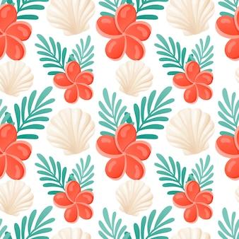 Мультфильм бесшовные модели летом. яркие тропические обои с ракушками, зелеными листьями и цветами плюмерии.