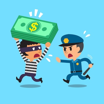 Cartoon security guard policeman and a thief