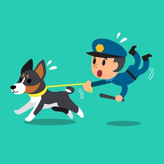 Cartoon security guard policeman with police guard dog