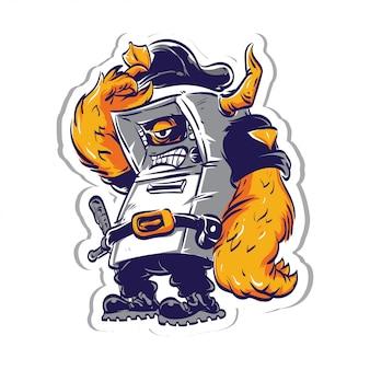 Cartoon security monster sticker