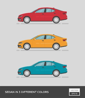 Cartoon sedan car in 3 different colors