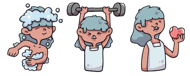 Cartoon self care boosting immune system