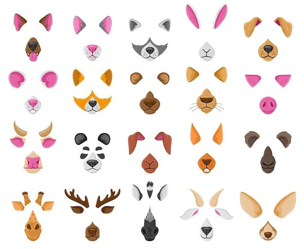 漫画の自分撮りやビデオチャットの動物の顔のマスク。かわいい動物のビデオチャット効果、犬、キツネ、パンダの鼻と耳のベクトルイラストセット。自撮りアプリの動物アバター