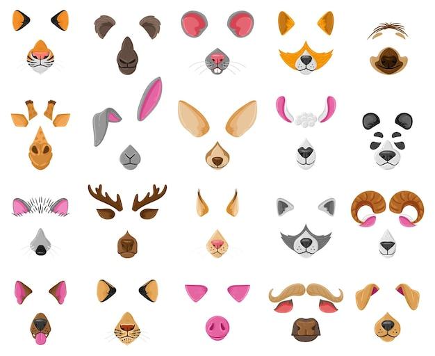 漫画の自分撮りやビデオチャットの動物の顔のマスク。アライグマ、犬、シマウマ、ヤギの面白い耳と鼻のベクトルイラストセット。ビデオチャット動物の顔