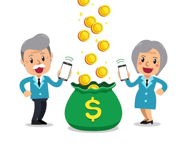 Cartoon senior business people earning money