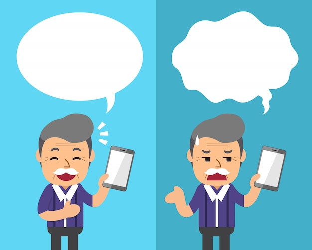 Cartoon a senior man with smartphone expressing different emotions with speech bubbles