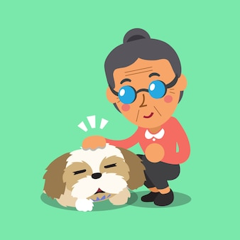 Cartoon senior woman and her dog