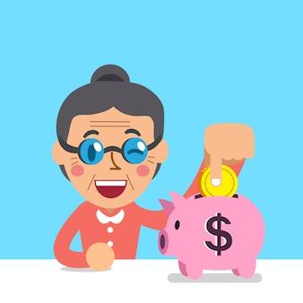 Cartoon senior woman saving money in piggy bank
