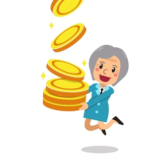 Cartoon senior woman with big coins stack