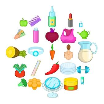 Cartoon set of 25 moisturizing the skin product icons