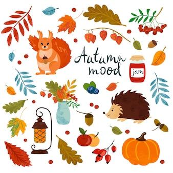 Cartoon set of autumn scrapbook element squirrel hedgehog pumpkin falling leaves flashlight jam