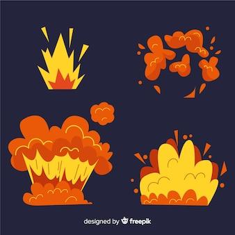 Cartoon set of bomb explosion effects