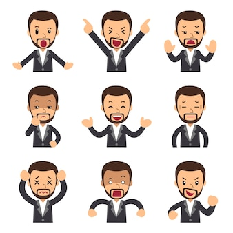 Cartoon set of businessman faces showing different emotions