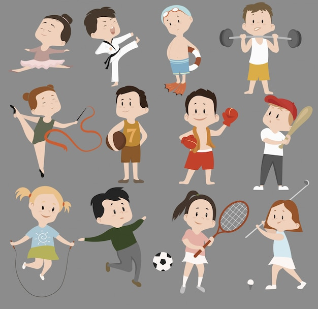 Cartoon set of children in sports training. collection of children involved in various sports.