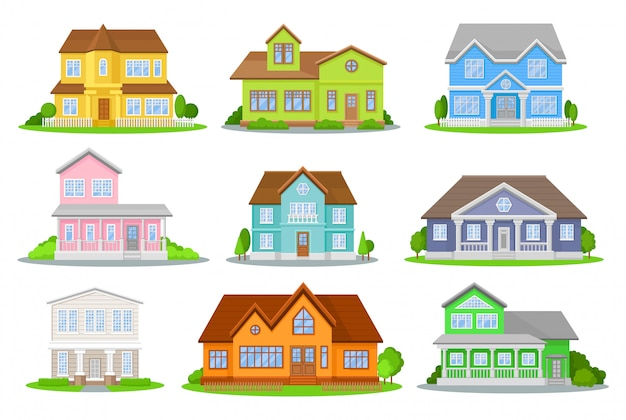 Cartoon set of colorful houses.