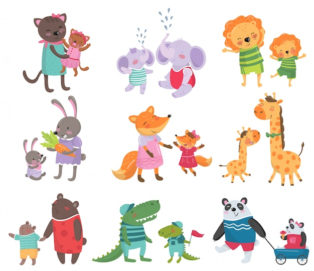 Cartoon set of cute animal family portraits. cats, elephants, lions, bunnies, foxes, giraffes, bears, crocodiles and pandas.