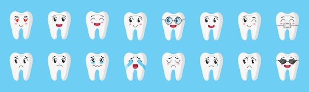 Cartoon set of cute characters of teeth with different emotions: happy, sad, crying, joyful, smiling, laughing, etc. children's dental concept.