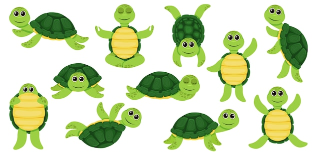 Cartoon set of cute turtle