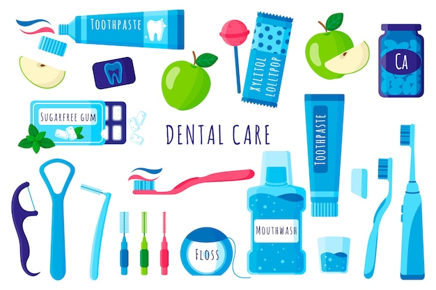 Cartoon set of dental tools for oral and teeth care: toothbrush, toothpaste, floss etc on white background.