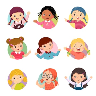 Cartoon set of different girl kids with various postures.