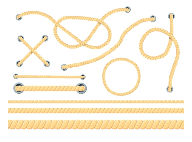 Cartoon set of different ropes flat illustration.