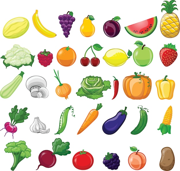 Cartoon set of different vegetables and fruits in the cartoon style