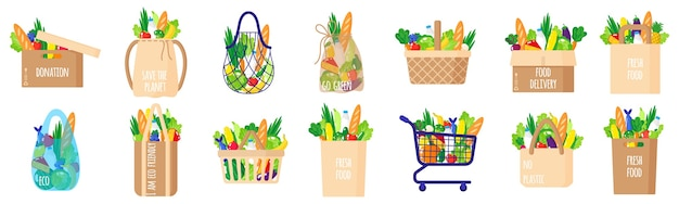 Cartoon set of eco paper grocery bags, baskets, cart, box, string and turtle bag with healthy organic food isolated on white background. caring for the environment concept. eco-food shopping.