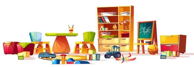 Cartoon set of elements for interior childrens kindergarten, playground.