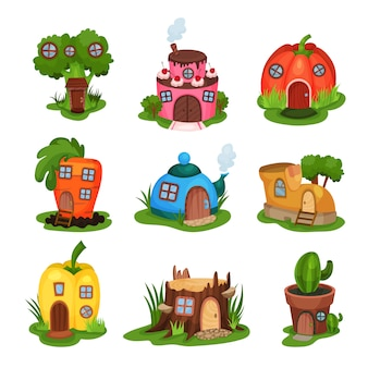 Cartoon set of fairy-tale houses in various shapes. home in form of broccoli, cake, pumpkin, carrot, teapot, shoe, pepper, old stump and cactus in pot. flat   design