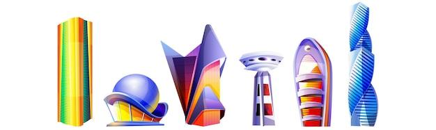 Мультфильм набор футуристических зданий необычной формы со стеклянным фасадом и куполами на белом фоне. город будущего. небоскребы и башни архитектуры в современном стиле. инопланетный городской дизайн городского пейзажа.
