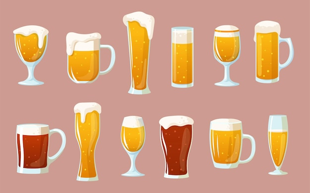 Cartoon set of glasses with light and dark beer