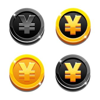 Cartoon set golden and black yen coin yuan symbol, chinese money
