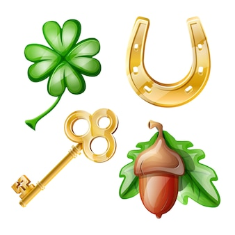 Cartoon set of good luck symbols: clover, golden key, horseshoe, acorn.