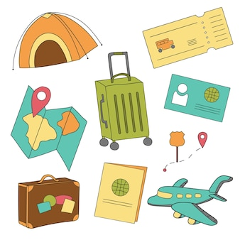 Cartoon set of icons of tourism, air travel, summer vacation planning, adventure, journey in holidays. vector illustration