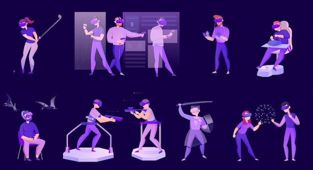 Cartoon set of icons with people wearing virtual reality glasses isolated on dark