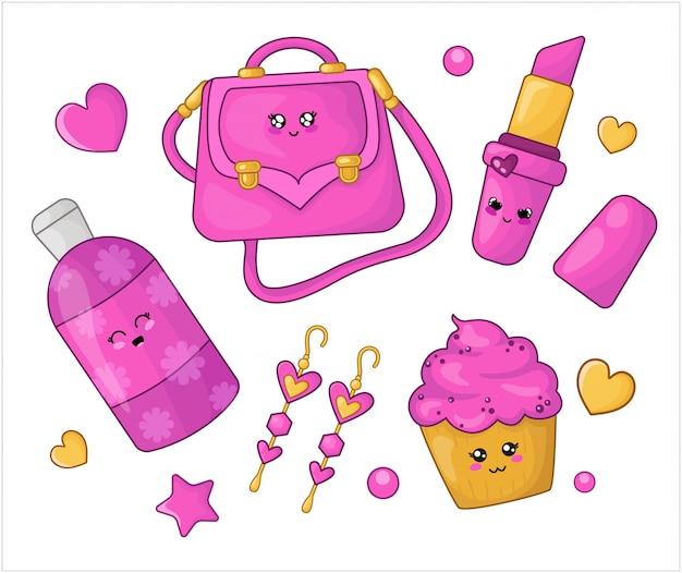 Cartoon set kawaii pink cosmetics and girls fashion accessories