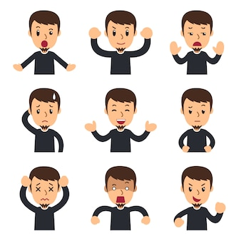 Cartoon set of man showing different emotions