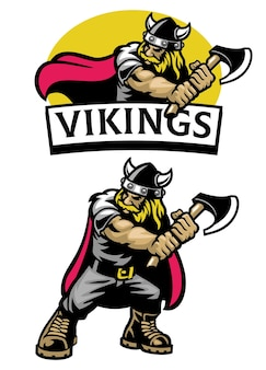 Cartoon set mascot of viking warrior